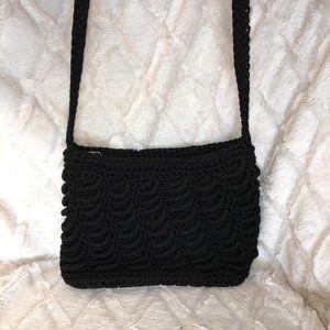 Black crocheted crossbody bag
